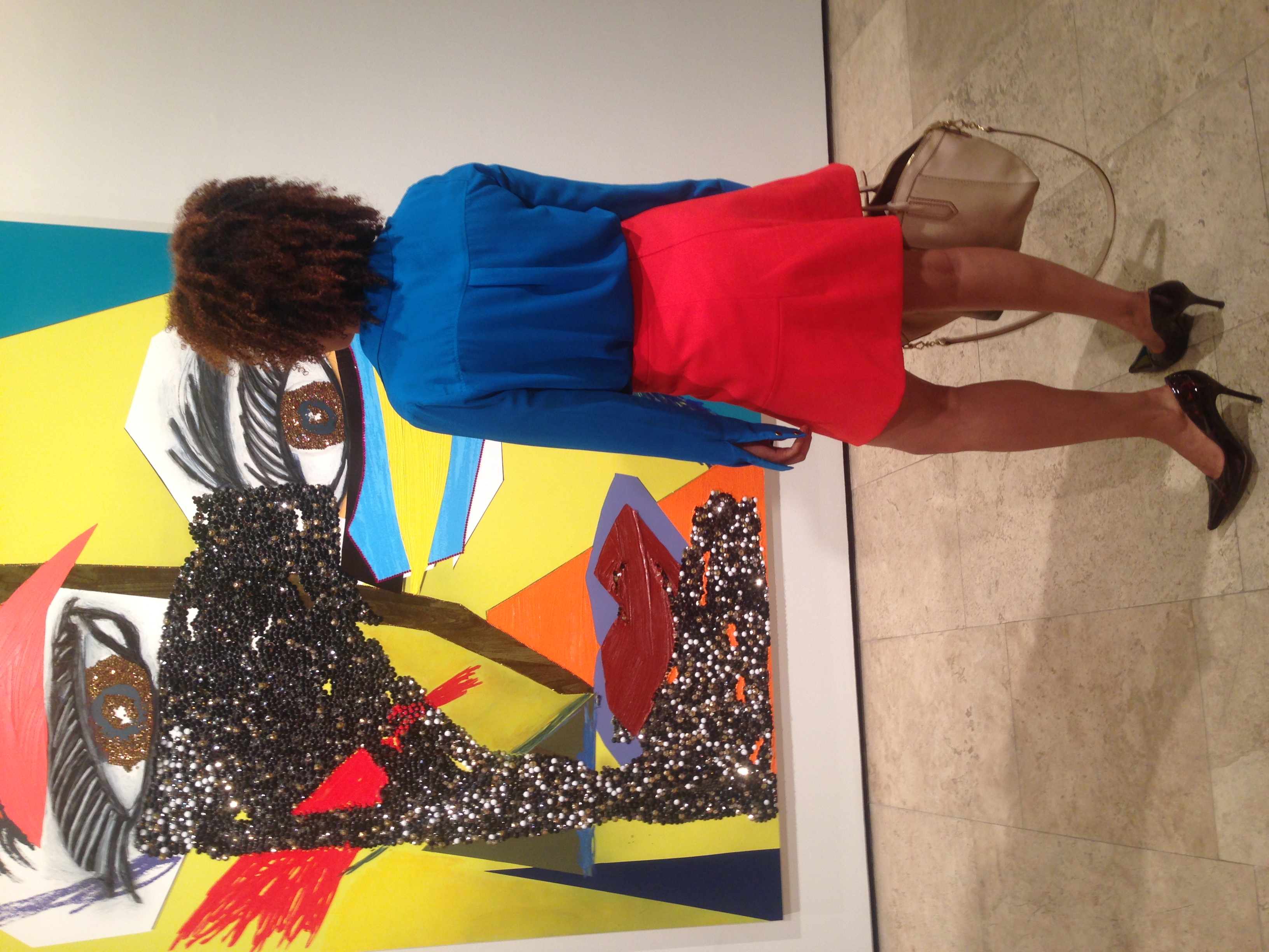 In front of 'Carla', from 'Tete de Femme' by Mickalene Thomas at Lehmann  Maupin, New York.