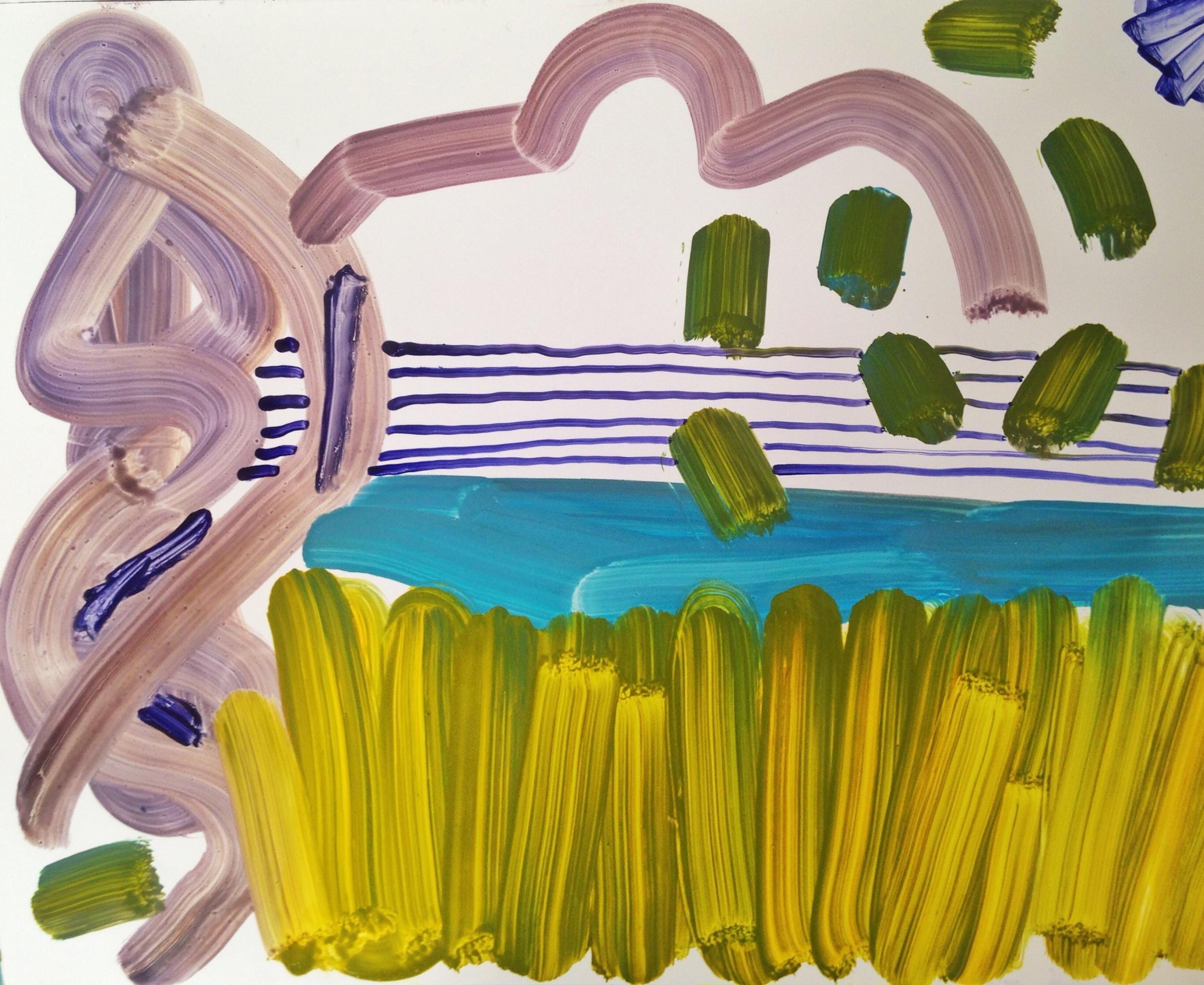 Caspian Sea, 2015, oil on paper, 11 x 14.