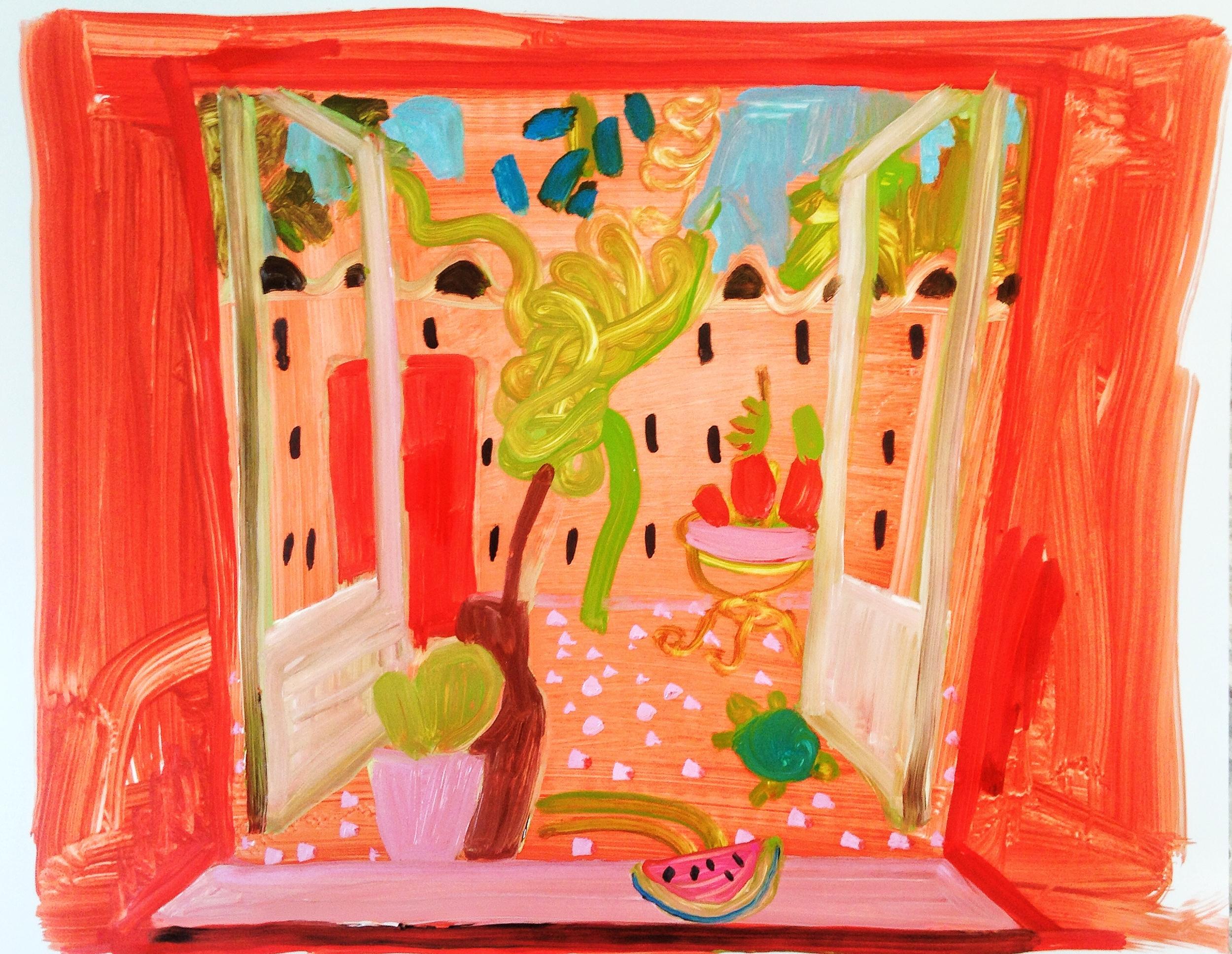 Watermelon Window, 2015, oil on paper, 11 x 14.
