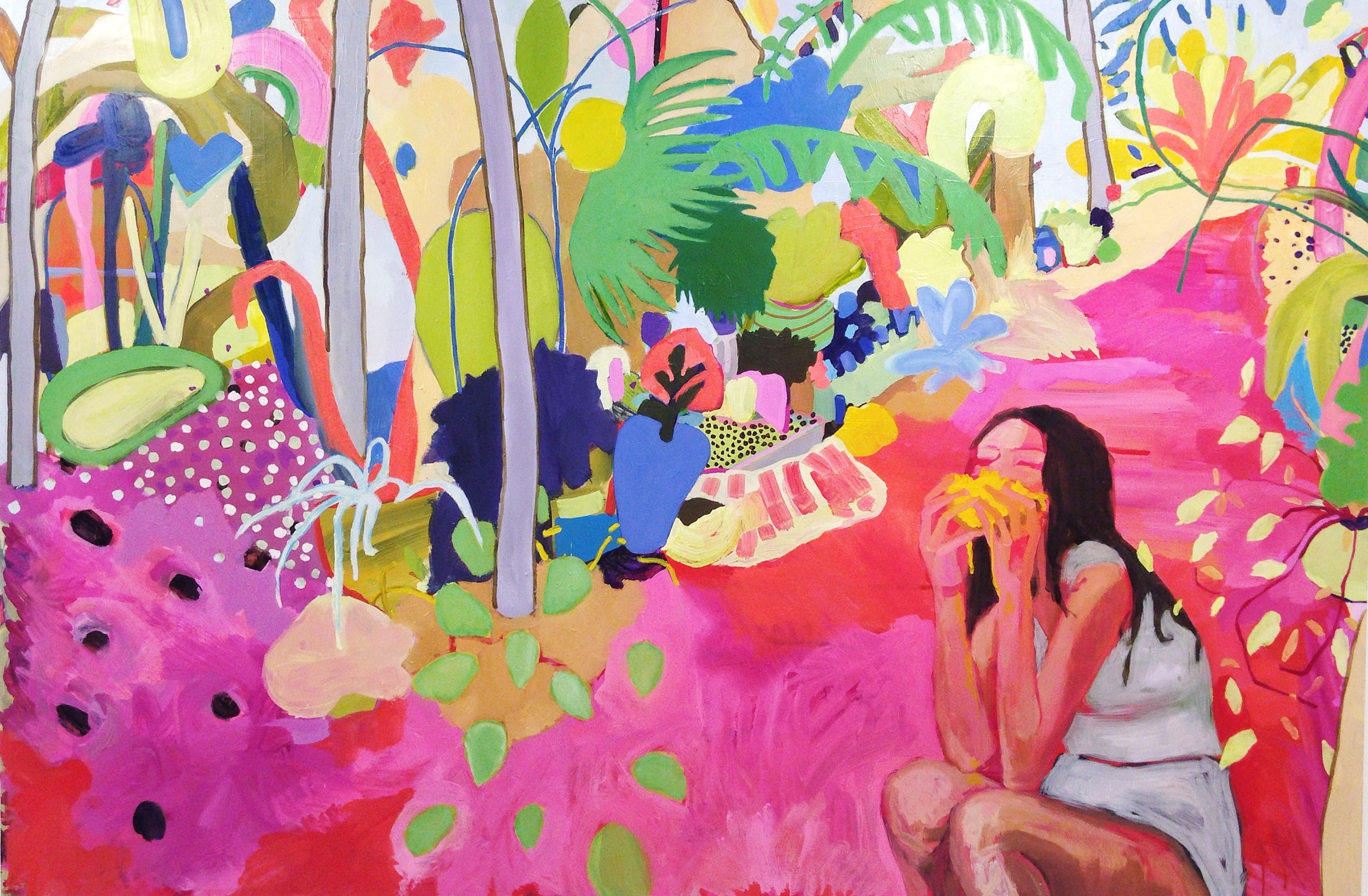 I Come Bearing Mangos, 2015, oil on panel, 48 x 72.