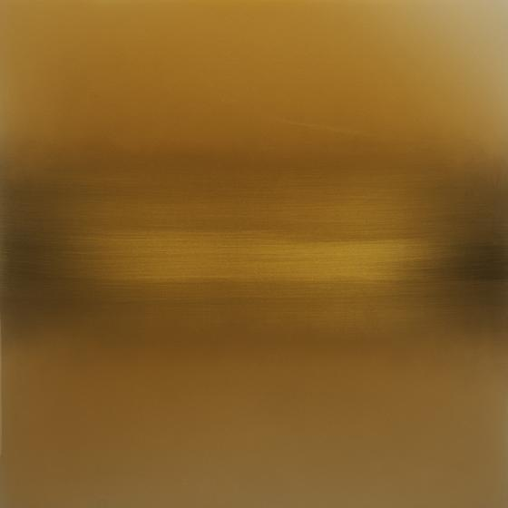 Vermillion Summer Yellow , 2014, pigment, lacquer, resin, dye on aluminum, 36 x 36 inches/91.5 x 91.5 cm