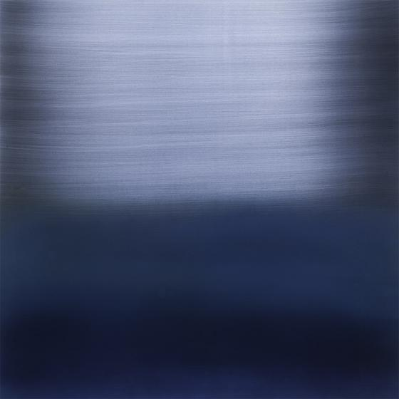 The River Indigo Light Blue , 2014, pigment, lacquer, resin, dye on aluminum, 36 x 36 inches/91.5 x 91.5 cm