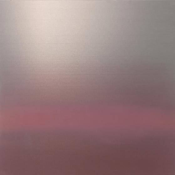 Hakanai Fleeting Spring , 2014, hand-dyed anodized aluminum, 30 x 30 inches/76 x 76 cm