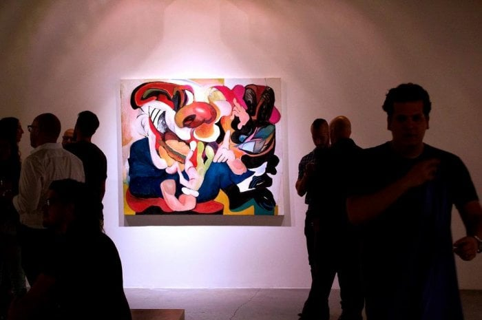 Installation view from the opening night of 'The Valdeziacs', Miami, 2013.