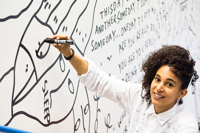 Courtesy of the artist. Shantell Martin on assignment with MIT Media Lab.