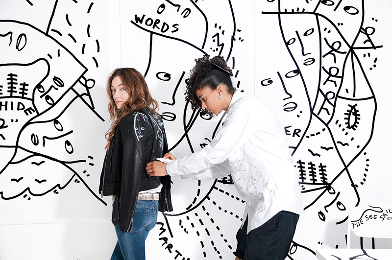 Courtesy of the artist. Shantell Martin collaborating with Kelly Wearstler.