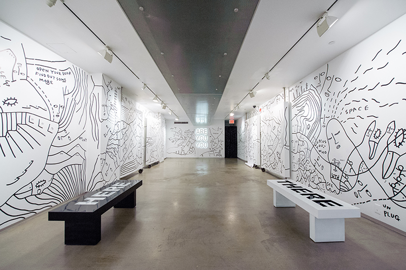 Photo by Roy Rochlin. Installation view from Shantell Martin's 2014 solo show 'Are You You' at MoCADA.