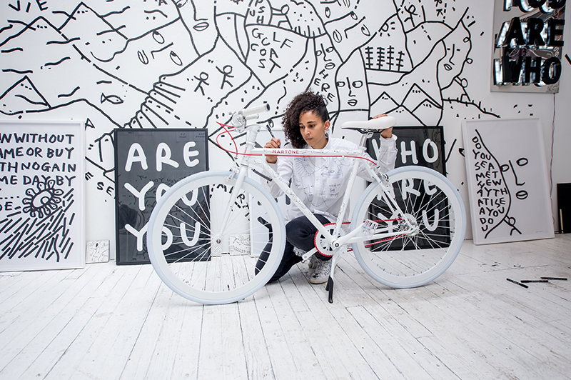 Courtesy of the artist. A unique Shantell Martin cycle for a project with Martone Cycling Co. x Artspace.