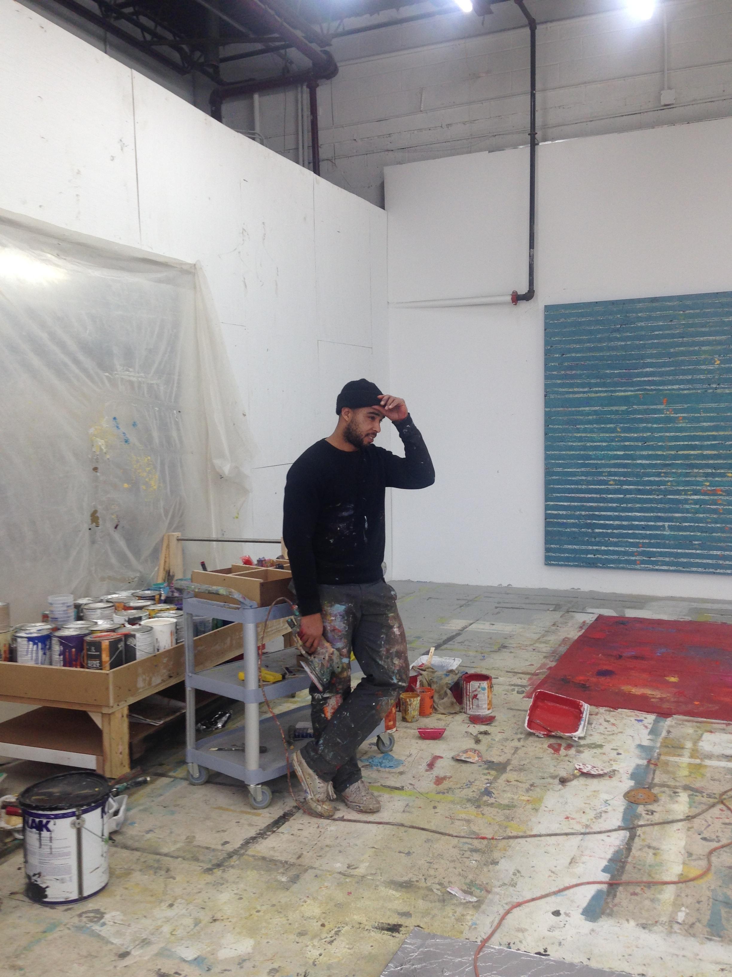 In the studio with Hugo McCloud, Bushwick, February 2016.