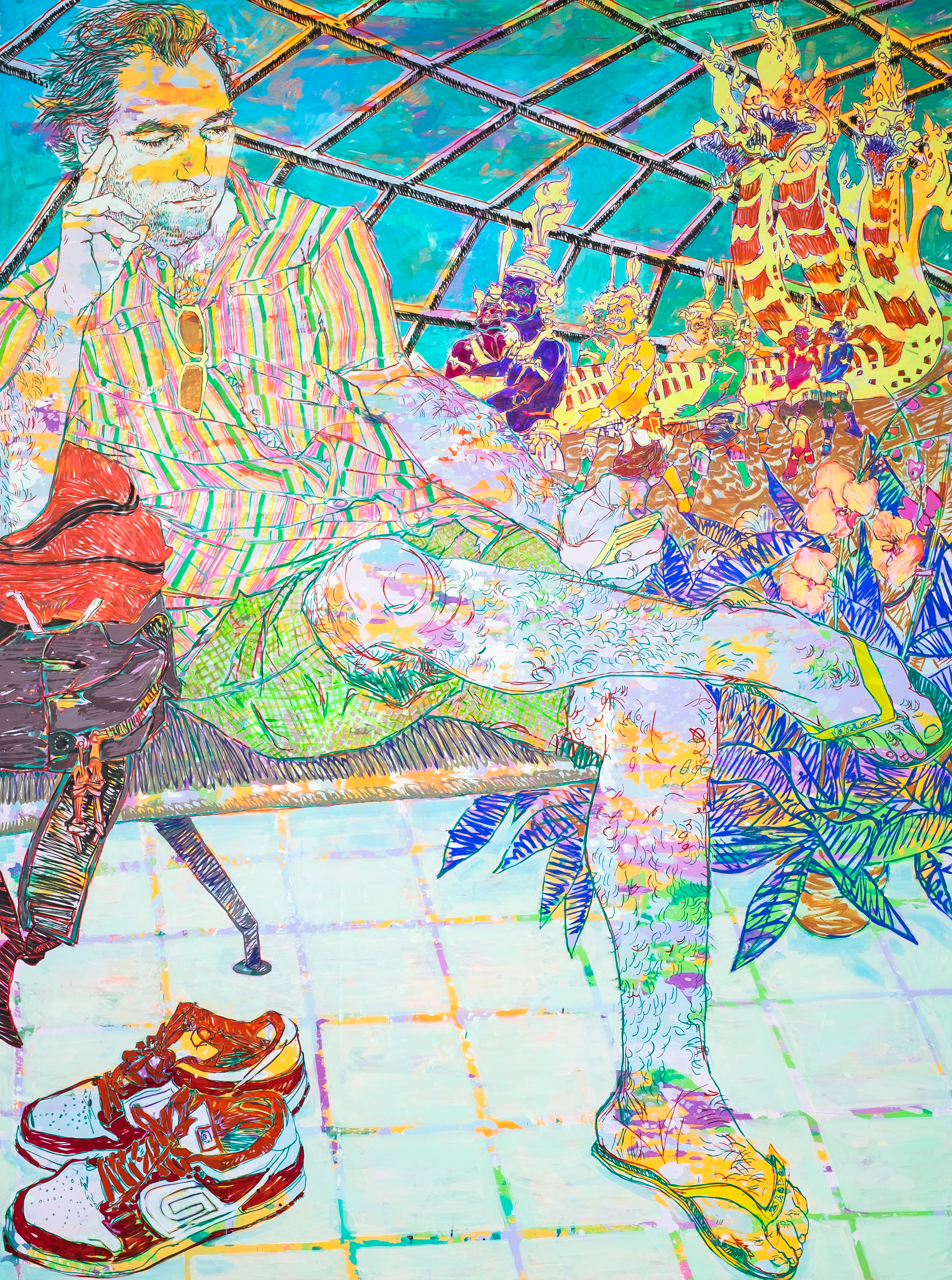 Hope    Gangloff,  Search at Suvarnabhumi Airport  , 2016,  Acrylic on canvas,  96 x 72 in.   Images courtesy of Susan Inglett Gallery and Richard Heller Gallery.  Photography by: Donald Stahl