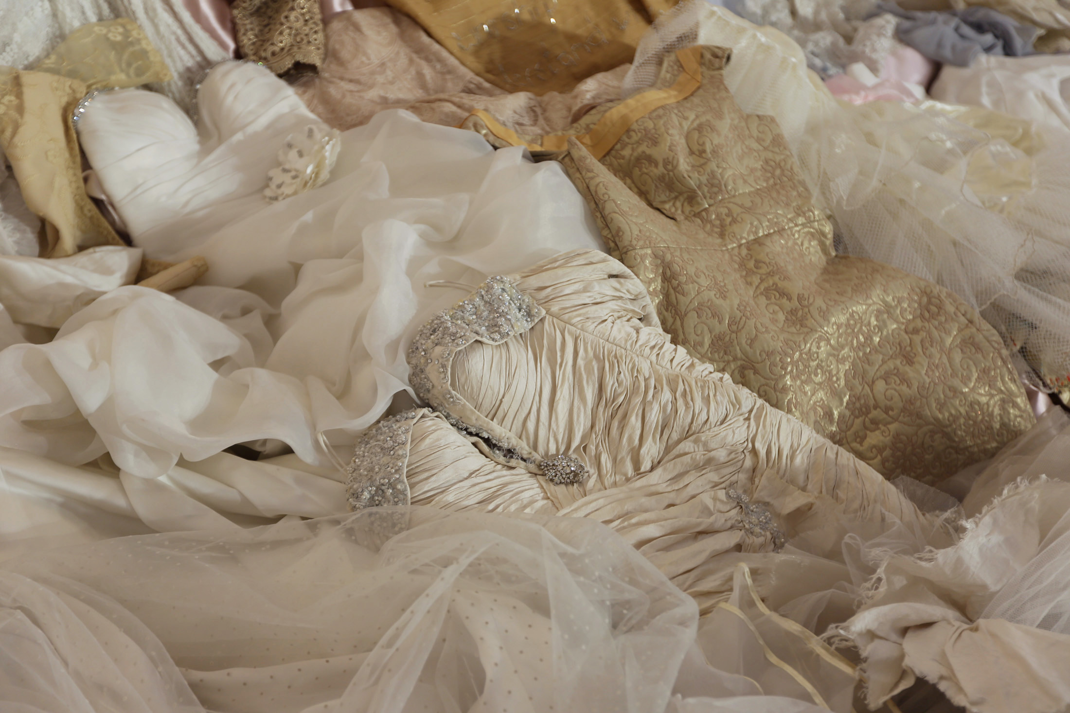 Frances   Goodman   ,   The Dream , (detail)   (2010-2016). Silk, lace, organza, satin, beads and embroidery thread, wedding dresses, sound installation. Courtesy of the artist and Richard Taittinger Gallery, New York.
