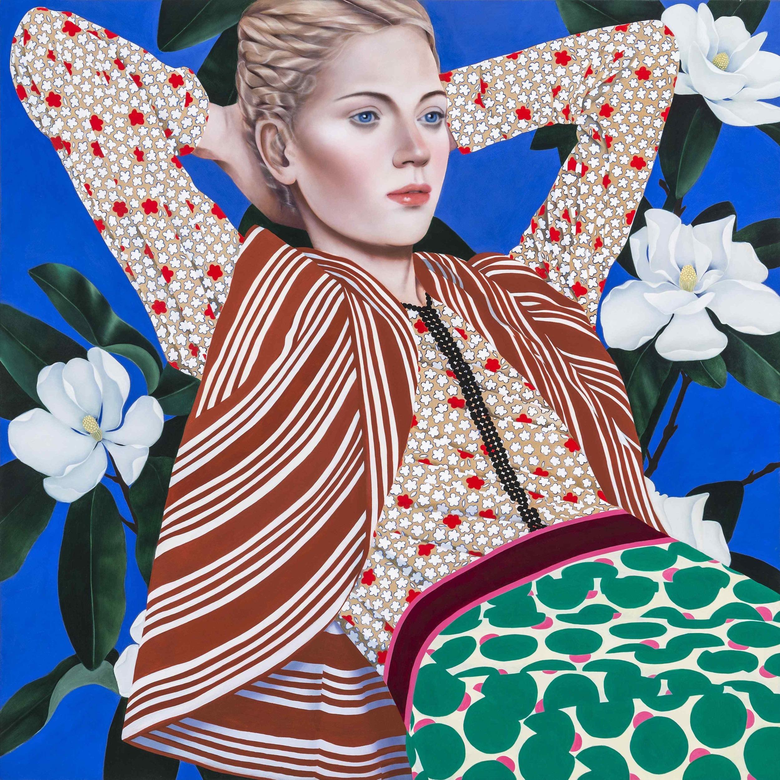 Magnolia,  2016.   Oil on canvas.   30 x 30 inches . **Courtesy of Fredericks & Freiser, NY.