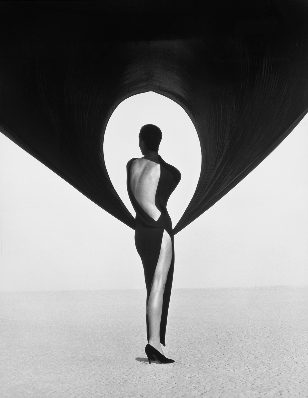 Herb Ritts  (American, 1952-2002)  Versace Dress, Back View, El Mirage  1990 Gelatin silver print Museum of Fine Arts, Boston Gift of Herb Ritts © Herb Ritts Foundation Photograph © Museum of Fine Arts, Boston