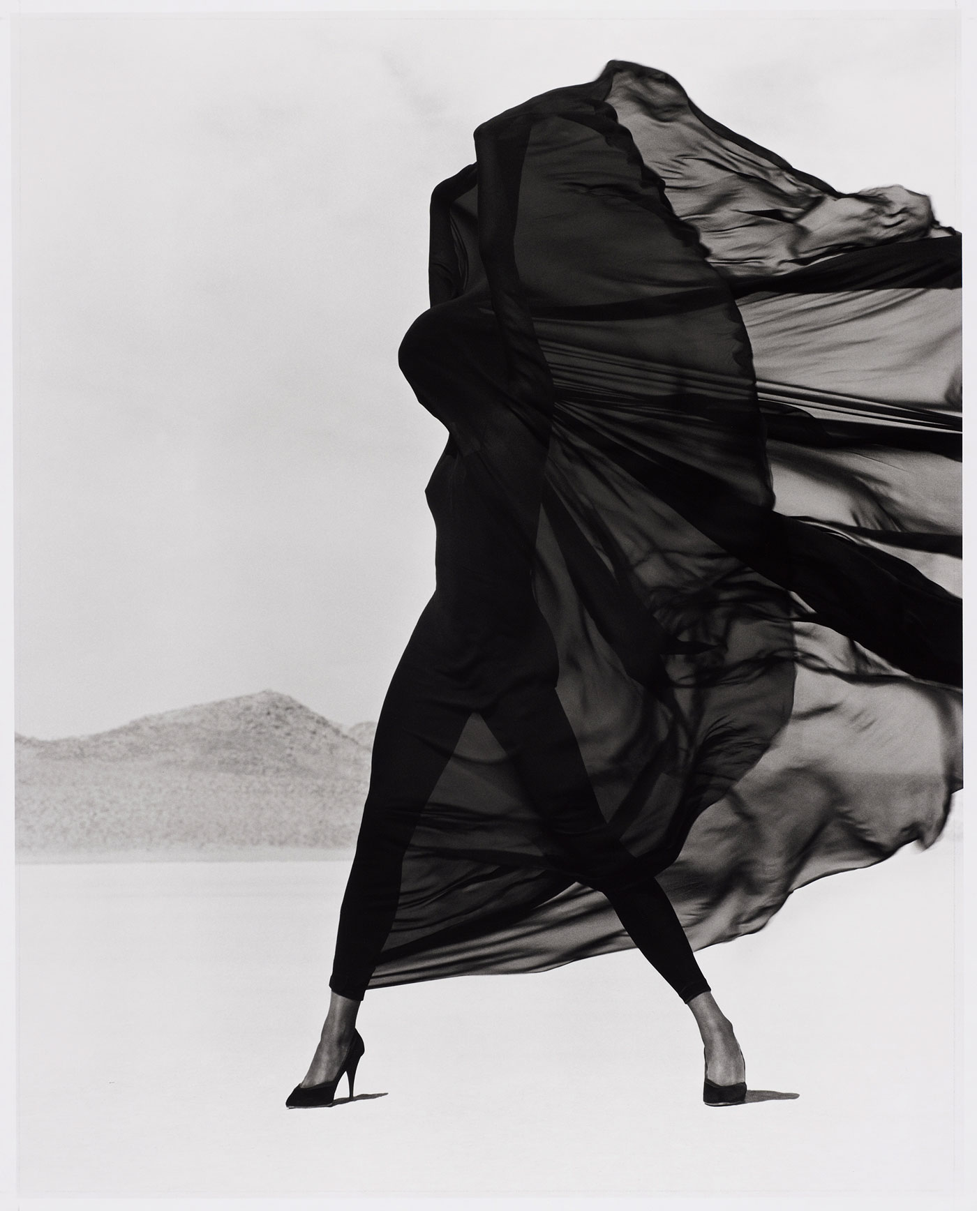Herb Ritts  (American, 1952-2002)  Versace Veiled Dress, El Mirage  1990 Gelatin silver print Museum of Fine Arts, Boston Gift of Herb Ritts © Herb Ritts Foundation Photograph © Museum of Fine Arts, Boston
