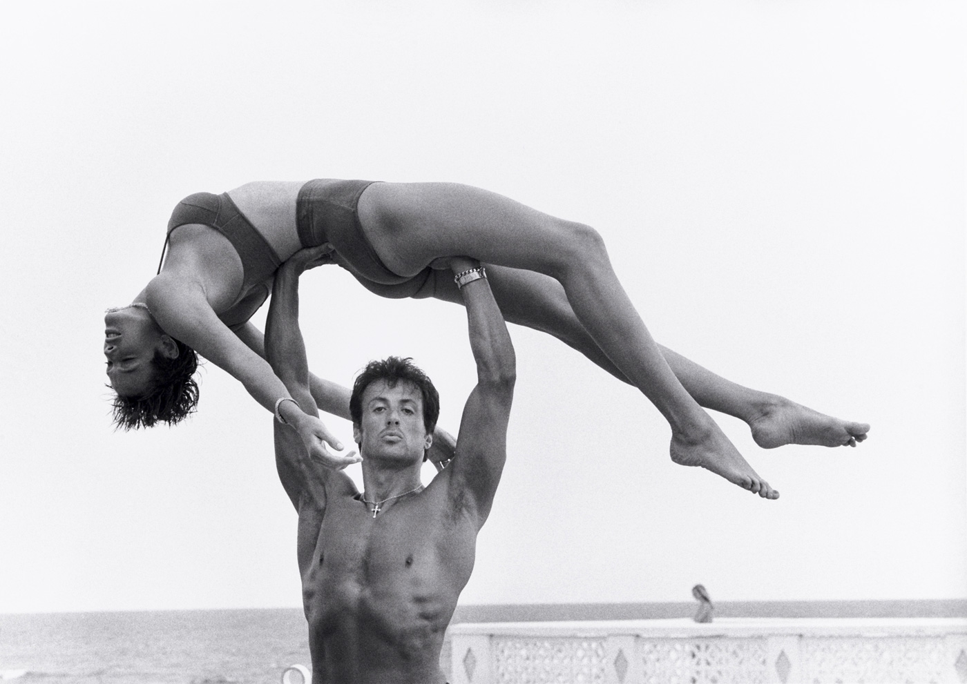 Herb Ritts  (American, 1952-2002)  Sylvester Stallone and Brigitte Nielsen, Long Island  1987 Gelatin silver print Museum of Fine Arts, Boston Gift of Herb Ritts Foundation in honor of Malcolm Rogers © Herb Ritts Foundation Photograph © Museum of Fine Arts, Boston