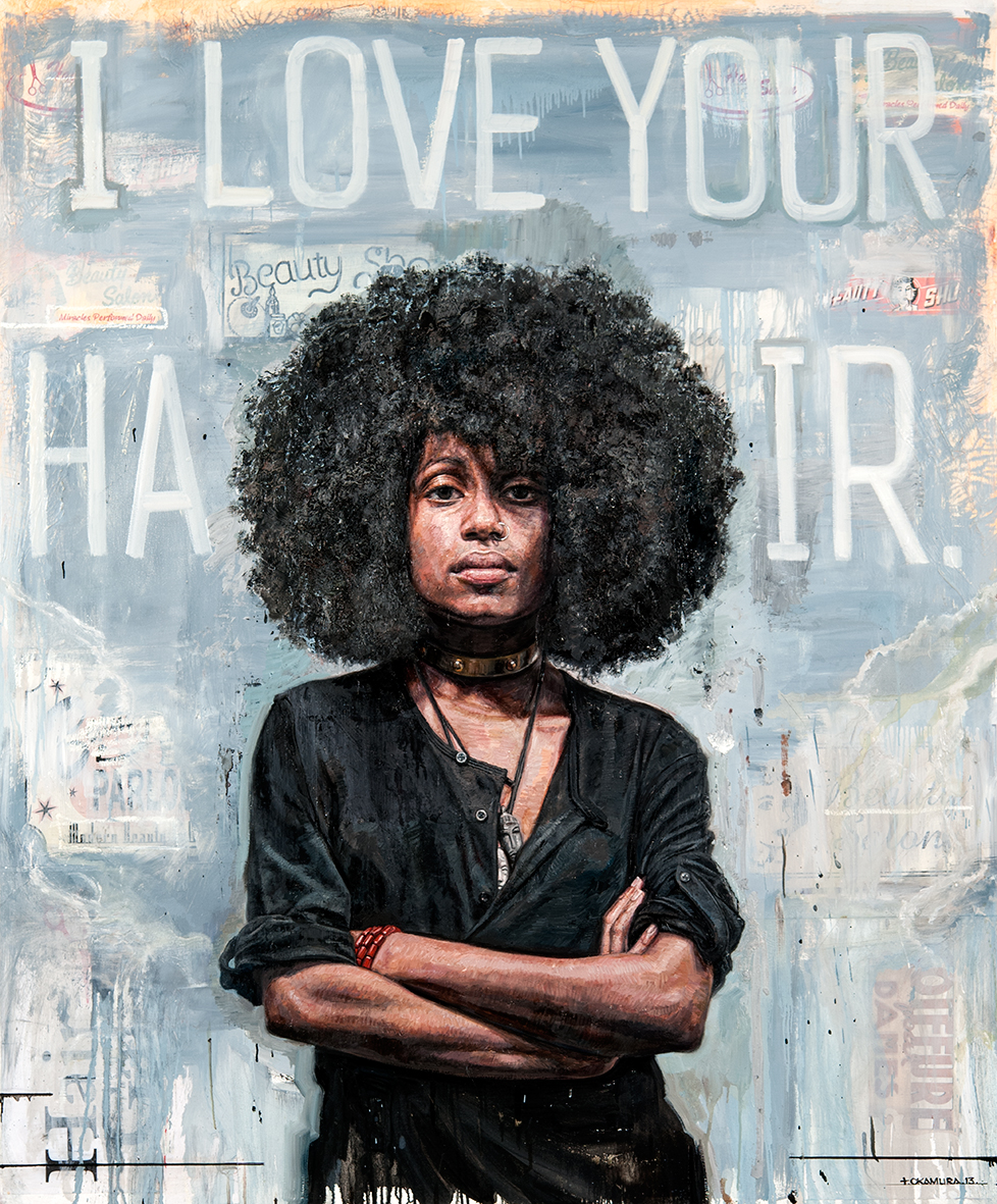'I Love Your Hair', Tim Okamura, a finalist in the Outwin 2016: American Portraiture competition at The National Portrait Gallery. Courtesy of Yeelen Gallery.