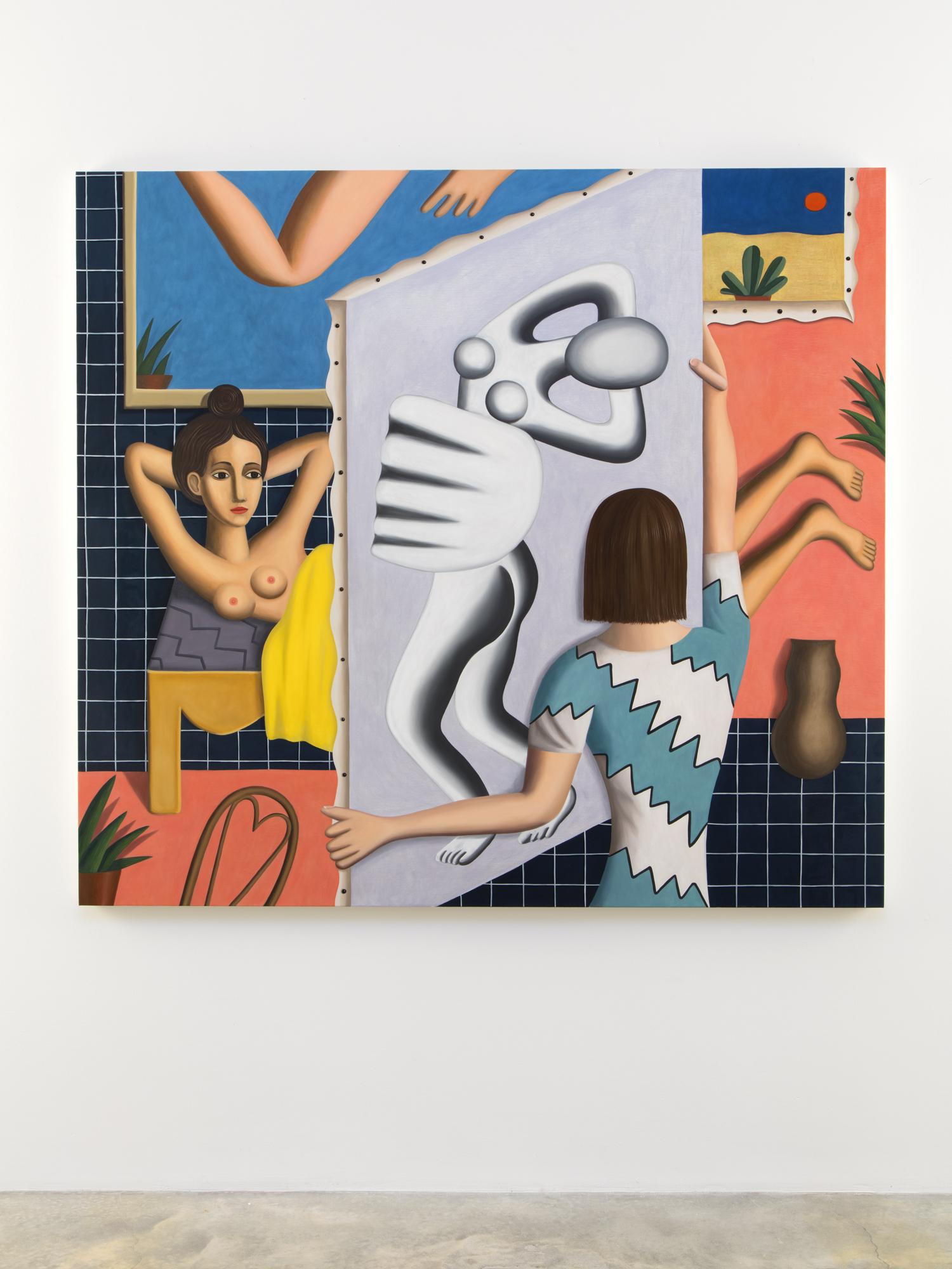 """Jonathan Gardner, The Model, 2016, Oil on linen, 52 x 57"""" / 132.1 x 144.8cm. Photo: Jean Vong"""
