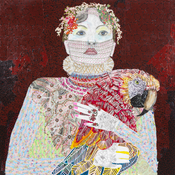 Maria Berrio, The Lovers 1, 2015, mixed media on canvas. Courtesy of Praxis Gallery.