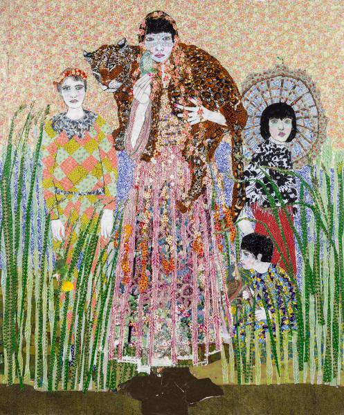 Maria Berrio, Born Again, 2015, mixed media on canvas. Courtesy of Praxis Gallery.