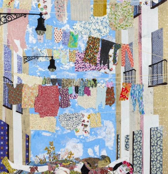 Maria Berrio, Knitting the Wind, 2015, mixed media on canvas. Courtesy of Praxis Gallery.