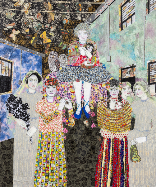 Maria Berrio, The Procession, 2015, mixed media on canvas. Courtesy of the Praxis Gallery.