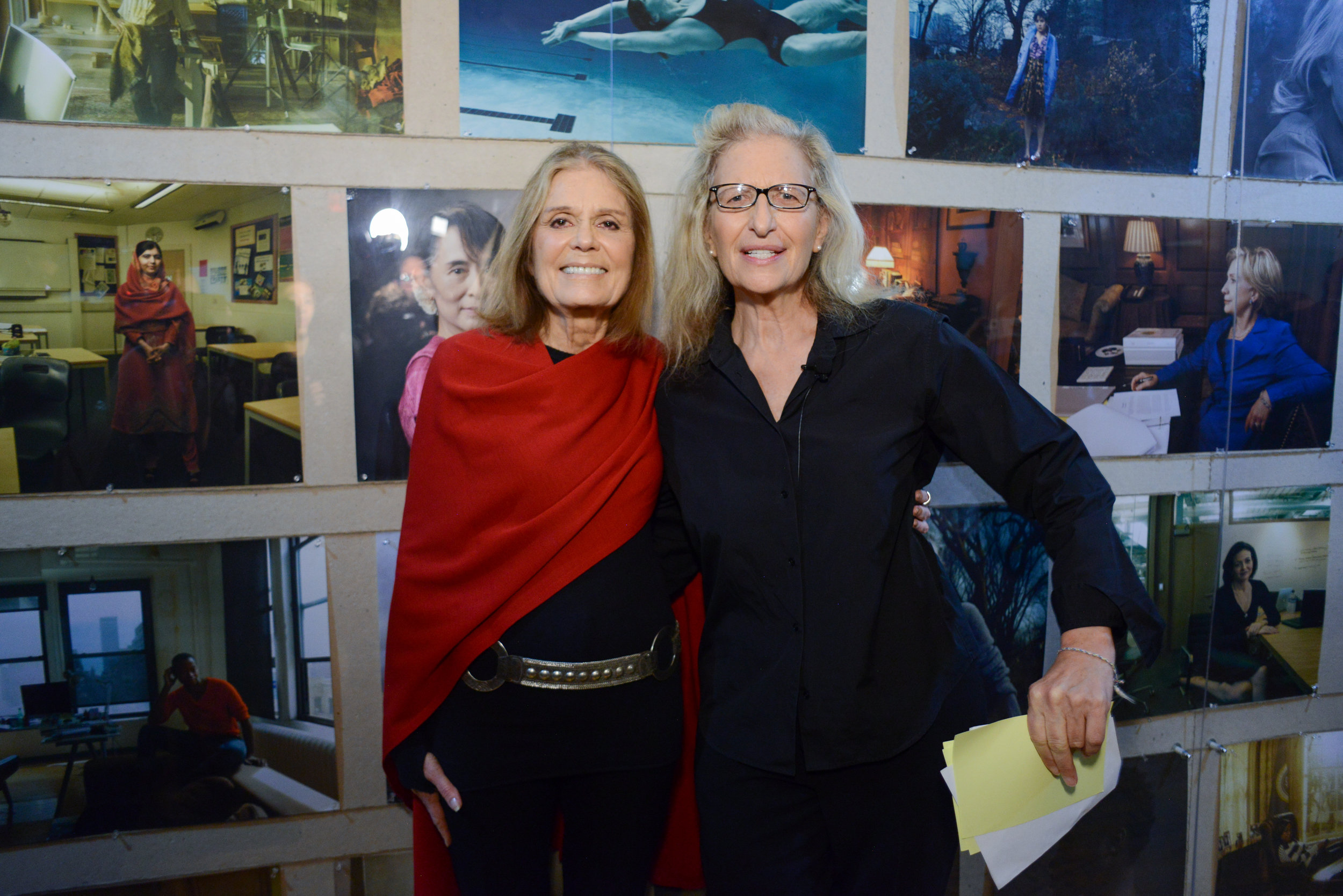 Gloria Steinem and Annie Leibovitz at WOMEN: New Portraits, commissioned by UBS. The former Bayview Correctional Facility, the future home of The Women's Building, 18 November – 11 December 2016 © Casey Kelbaugh