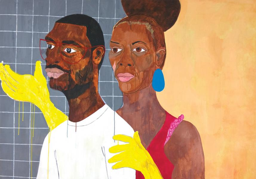 Nina Chanel Abney,  Khaaliqua & Jeff , 2007; Acrylic on canvas 61 x 63 ¾ in.