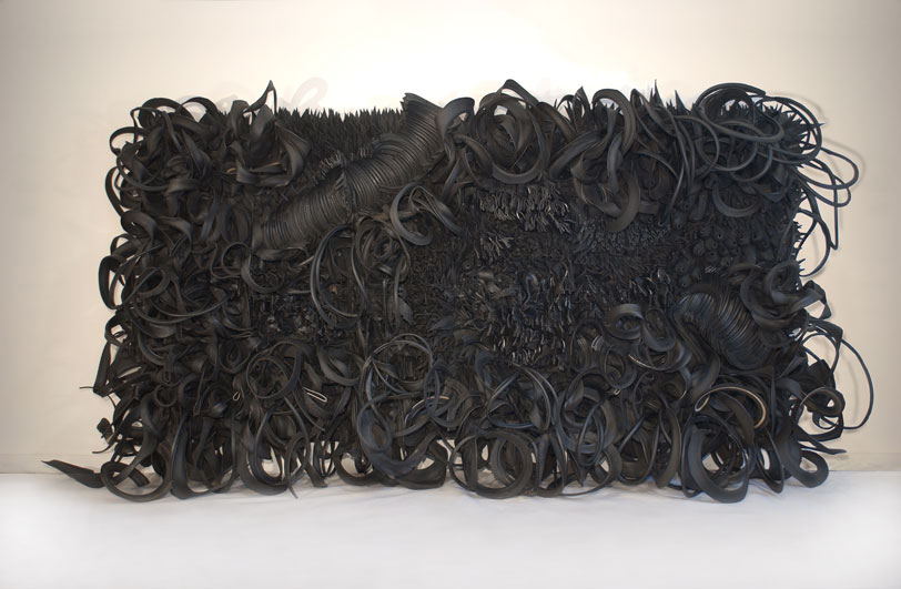Chakaia Booker,  Acid Rain , 2001; Rubber and wood, 120 x 240 x 36 in. ; Museum purchase: Members' Acquisition Fund