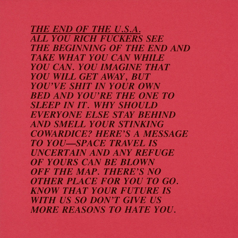 """Jenny Holzer,""""The end of the USA"""". Credit:Sock Studio."""