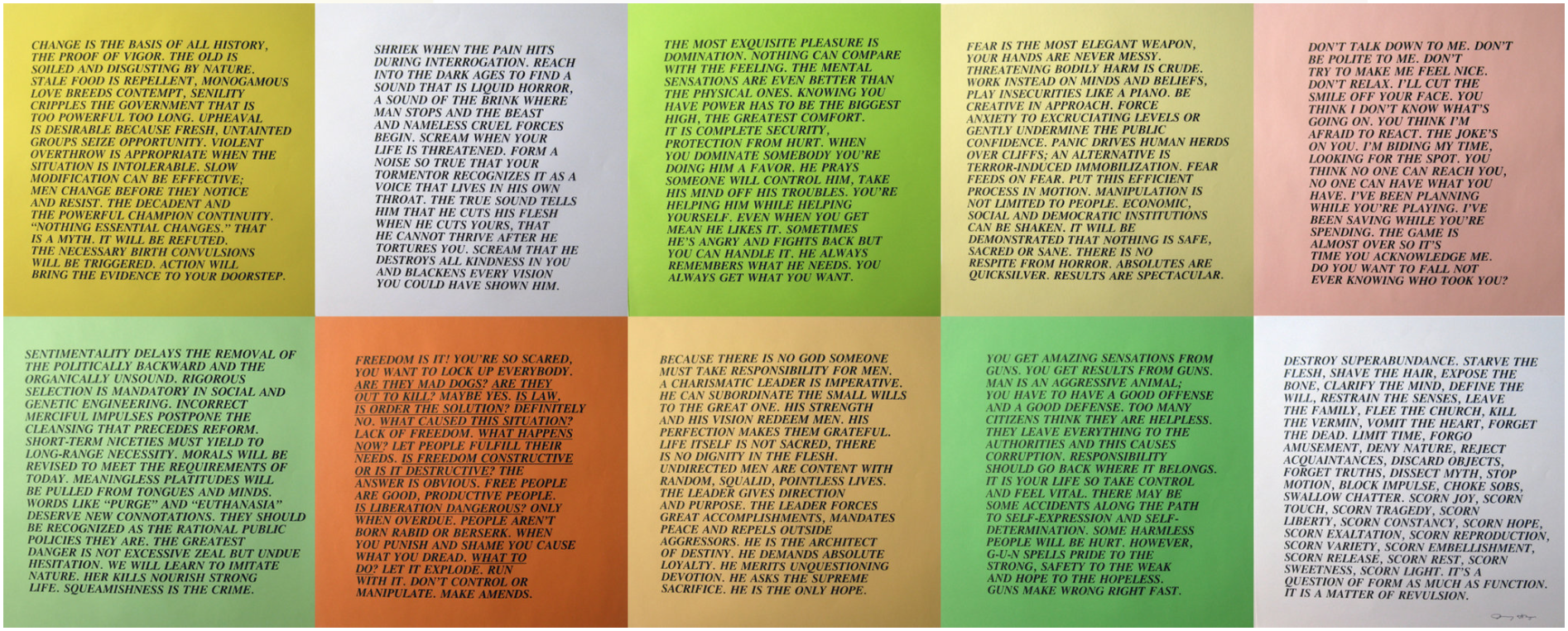 Some of Jenny Holzer's  Inflammatory Essays. Credit: Alden Projects.