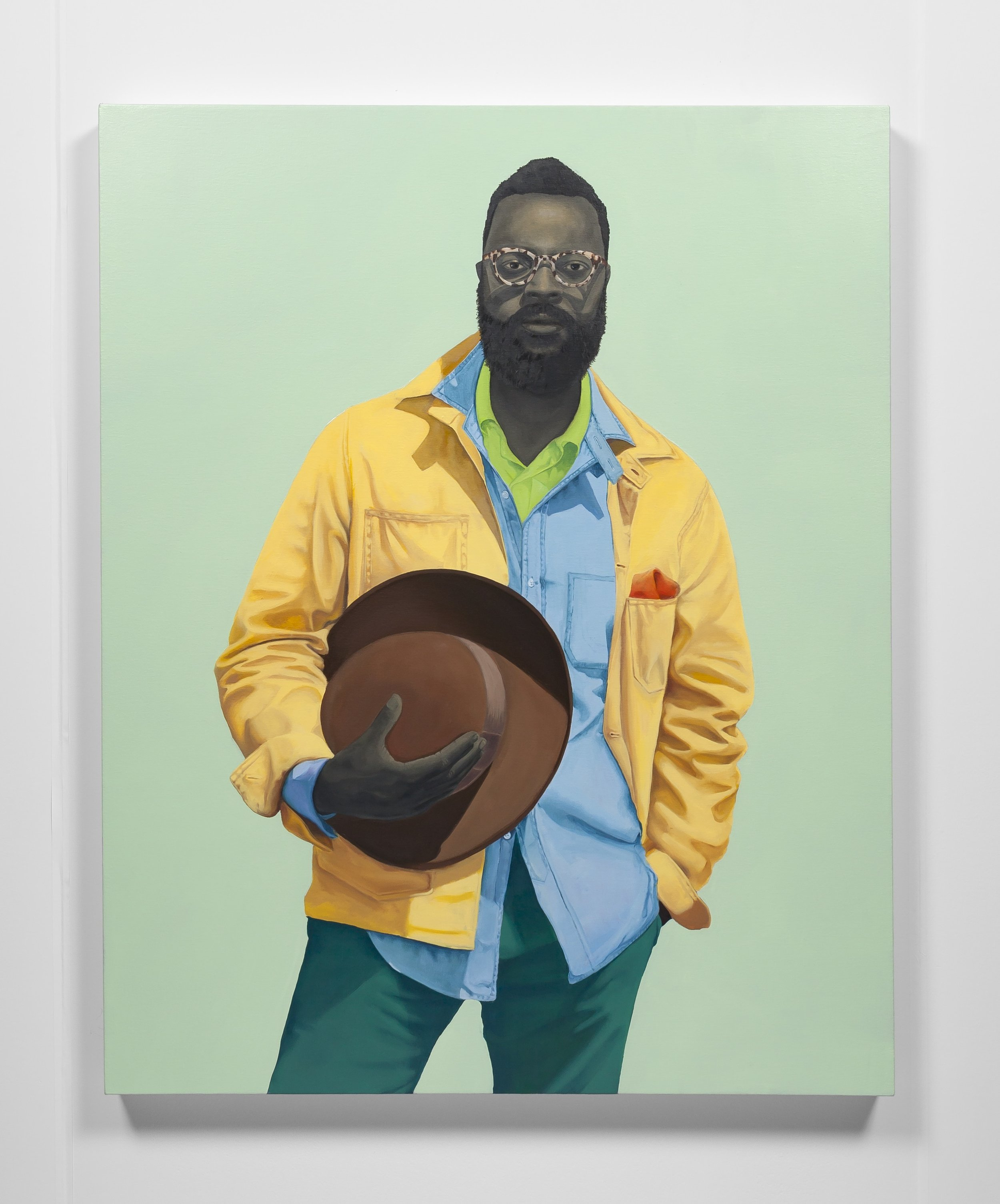 Amy Sherald, Pythagore, 2016, oil on canvas. 54 x 43 in. (137.16 x 109.22 cm). Private collection, Los Angeles, CA. Courtesy the artist and Monique Meloche Gallery, Chicago.