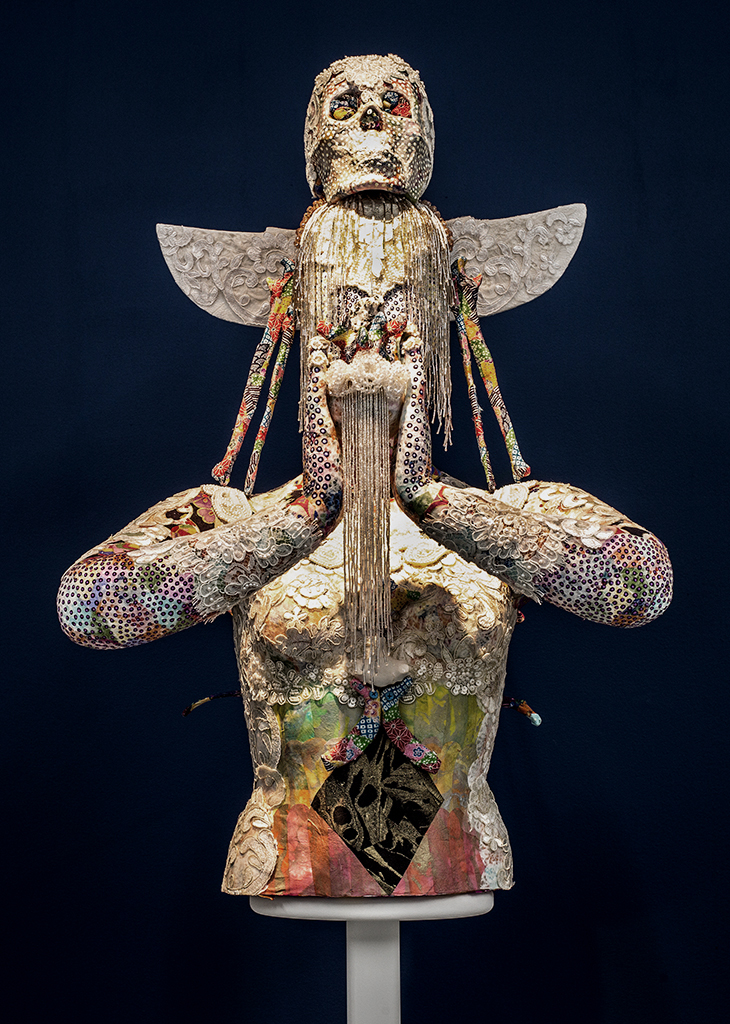 Saya Woolfalk,  ChimaCloud Crystal Body D , 2017, Mixed Media, Sculpture: 34 x 21 x 16 inches, Stand: 48 x 12 x 12 inches. Copyright Saya Woolfalk, courtesy Leslie Tonkonow Artworks + Projects, New York