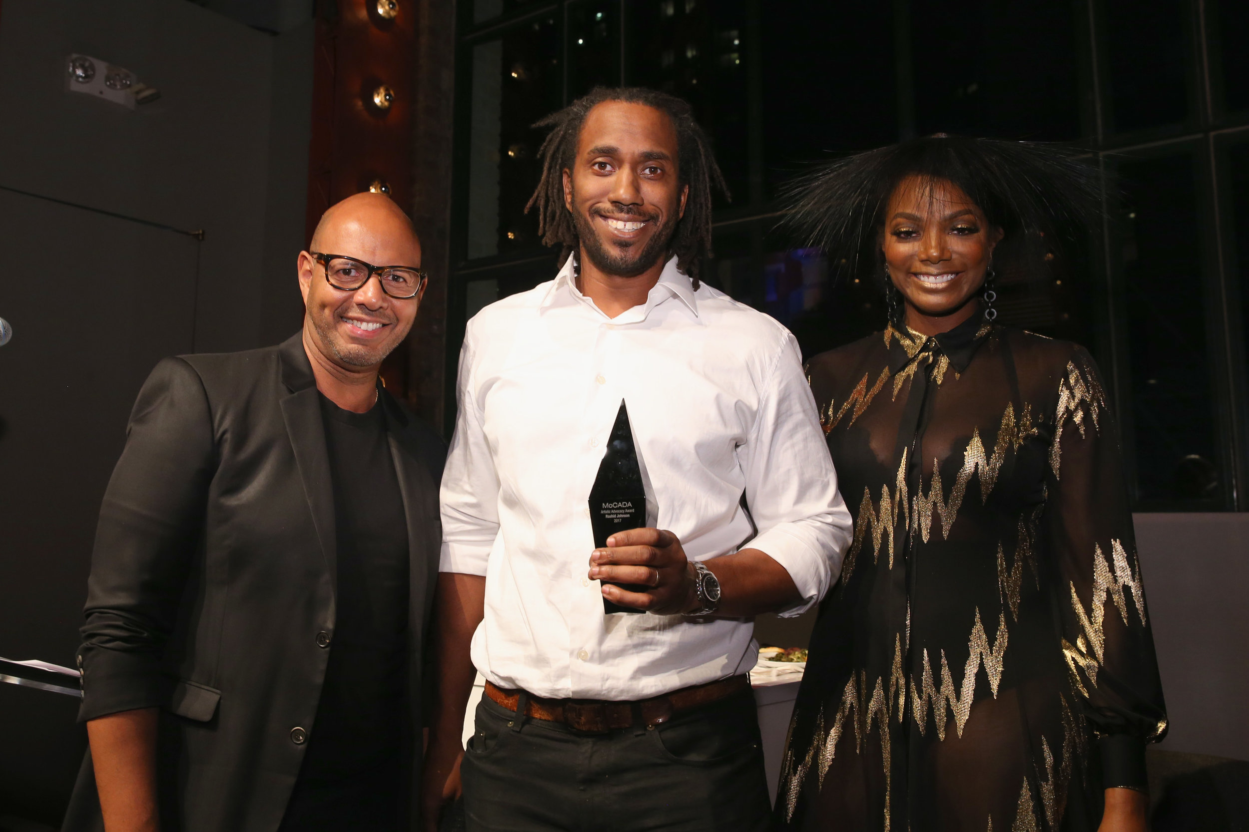 Emil Wilbekin, Rashid Johnson, Tai Beauchamp. Photo by Getty Images.