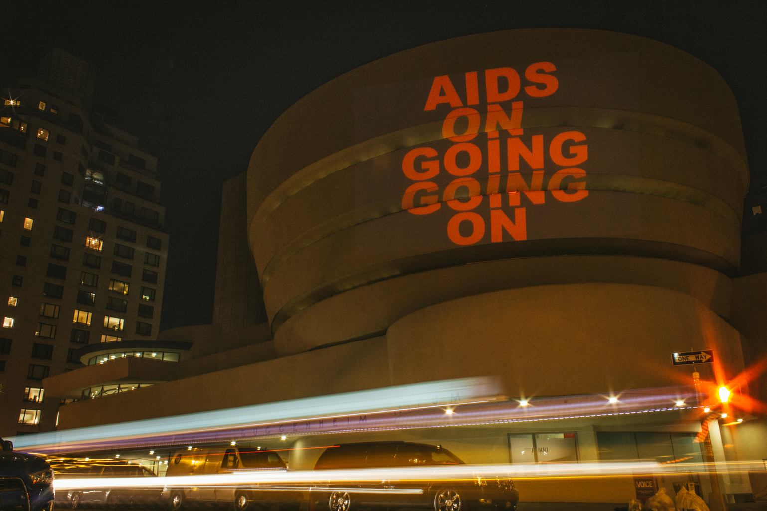 """AIDS, On Going, Going On,"""" Radiant Presence , Day With(out)Art, projection by Visual AIDS, December 1, 2015, New York City"""