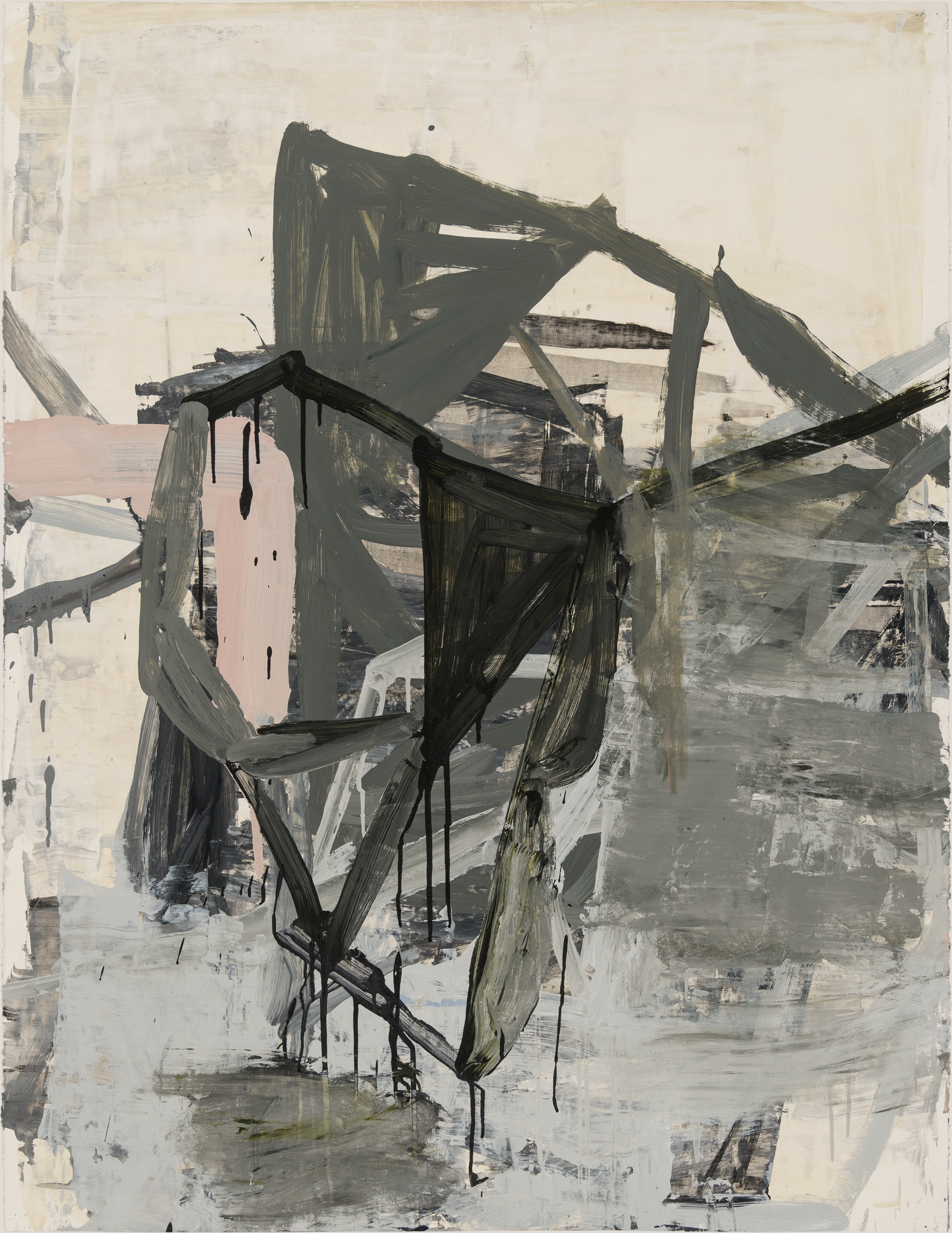 "Deborah Dancy, Winter into Spring 4, from the series ""Winter into Spring"", 2015. Charcoal, gesso, and acrylic on paper, 50 x 38 in. Photo by E. G. Schempf. Courtesy of the artist and Sears Peyton Gallery, New York, Los Angeles; © Deborah Dancy"