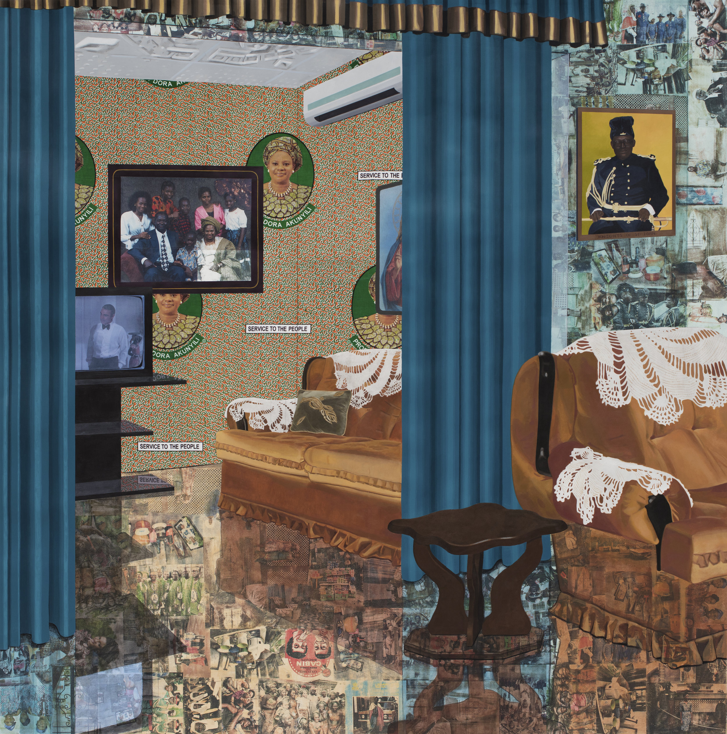 Njideka Akunyili Crosby. Home: As You See Me. 2017. © Njideka Akunyili Crosby. Courtesy the artist and Victoria Miro, London. Photography Brian Forrest.