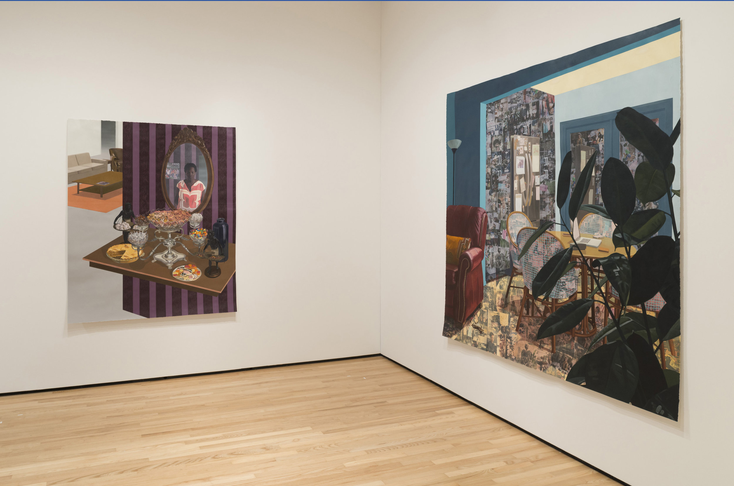 Installation view 3, Front Room: Njideka Akunyili Crosby | Counterparts. Photo by Mitro Hood.