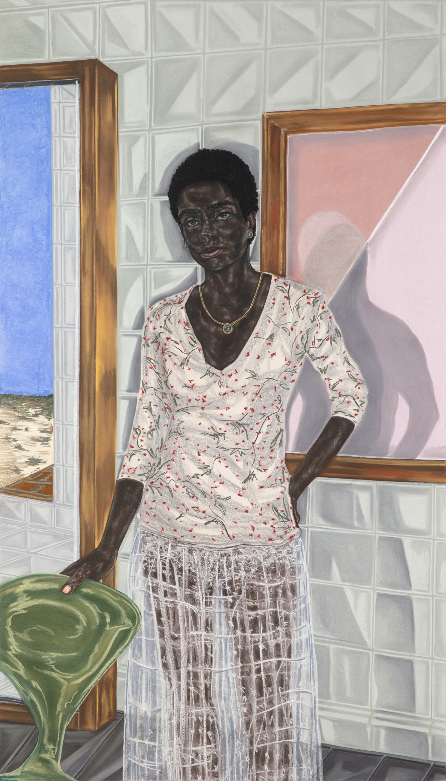 Toyin Ojih Odutola.  Pregnant , 2017. Charcoal, pastel and pencil on paper, 74 1/2 x 42 inches. ©Toyin Ojih Odutola.  Courtesy of the artist and Jack Shainman Gallery, New York.