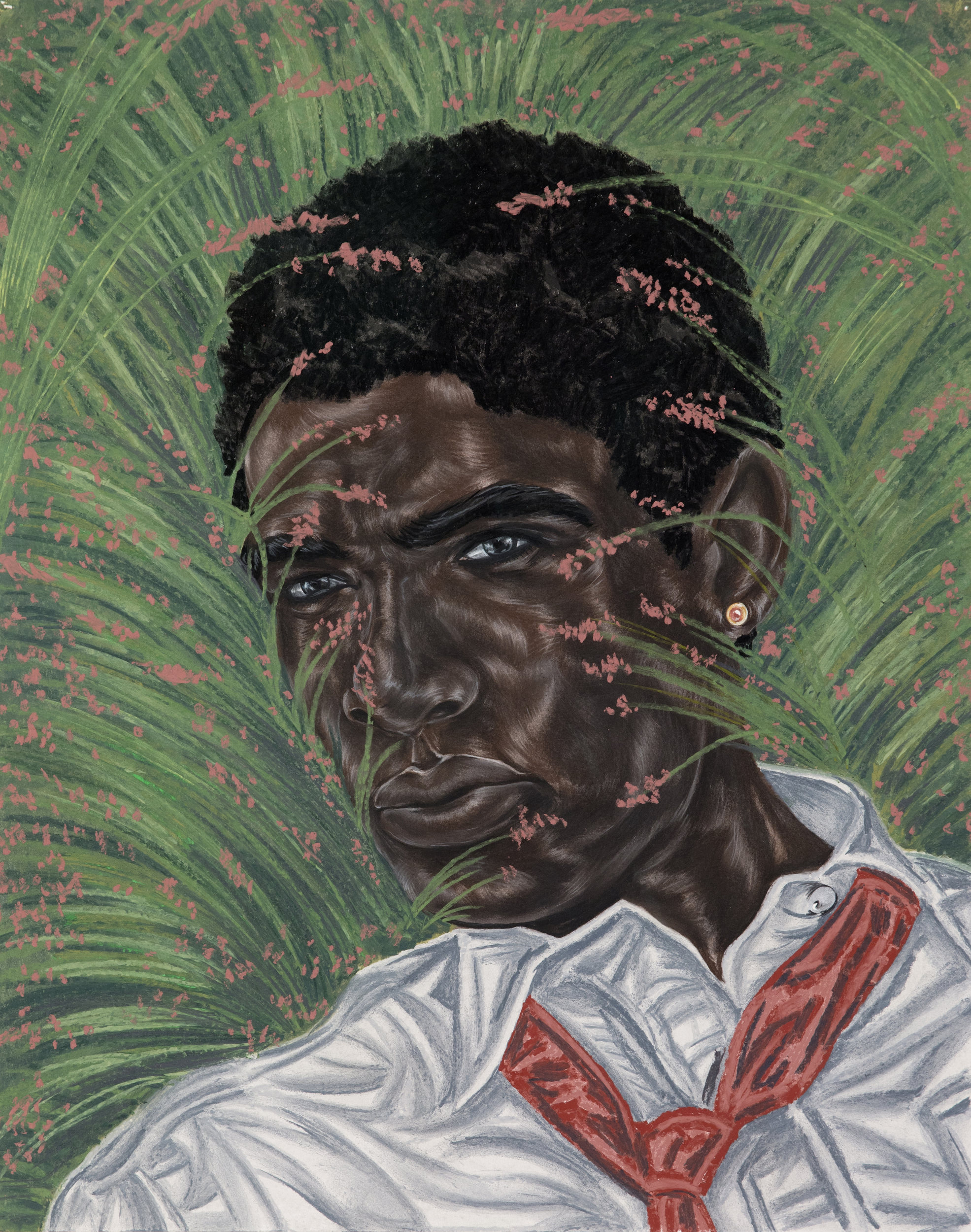 Toyin Ojih Odutola (b. 1985),  Between the Margins , 2017. Charcoal, pastel and pencil on paper, 24 x 19 in. ©Toyin Ojih Odutola.  Courtesy of the artist and Jack Shainman Gallery, New York