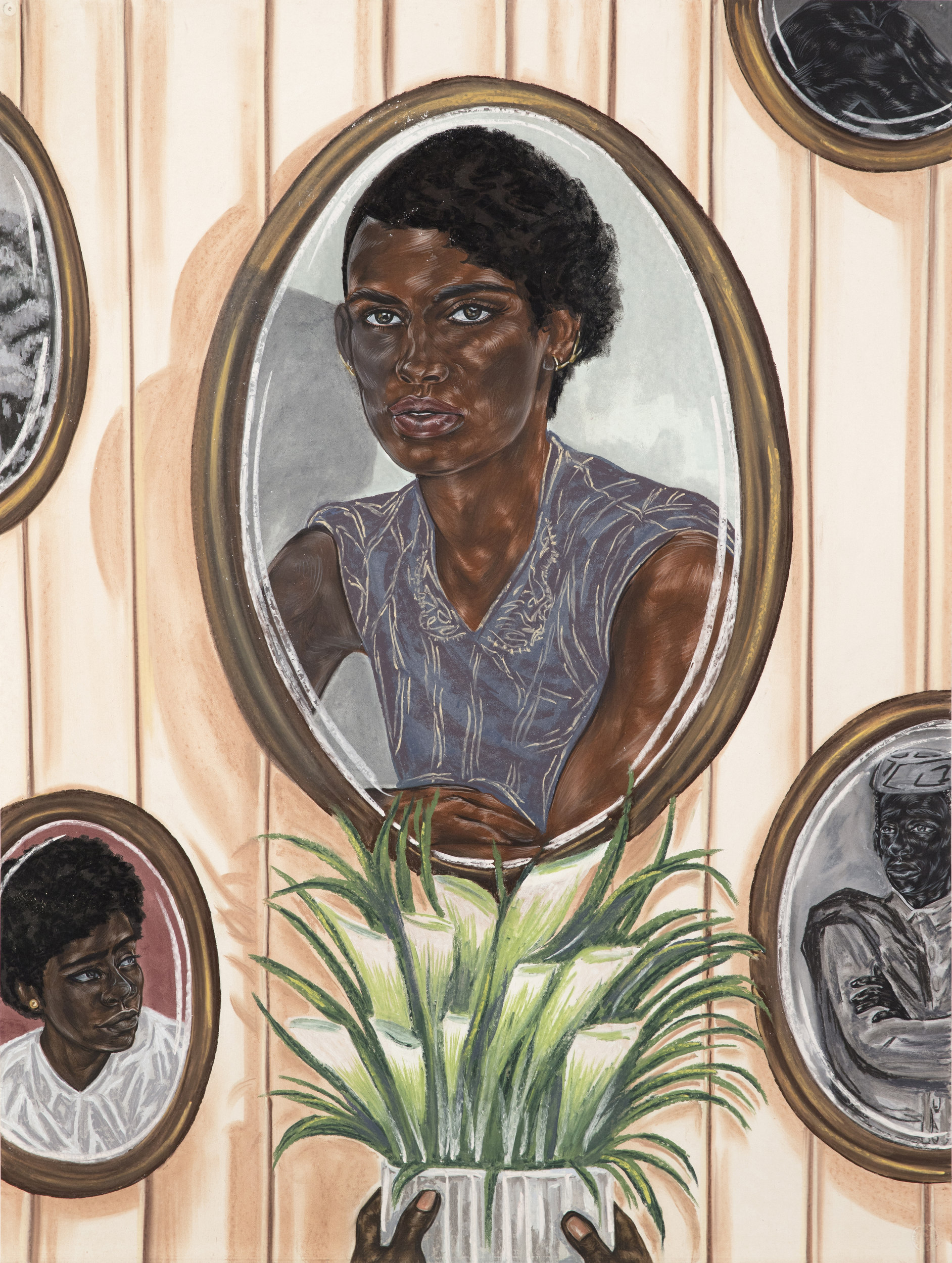 Toyin Ojih Odutola.  Wall of Ambassadors , 2017. Charcoal, pastel and pencil on paper, 40 x 30 inches. ©Toyin Ojih Odutola.  Courtesy of the artist and Jack Shainman Gallery, New York.