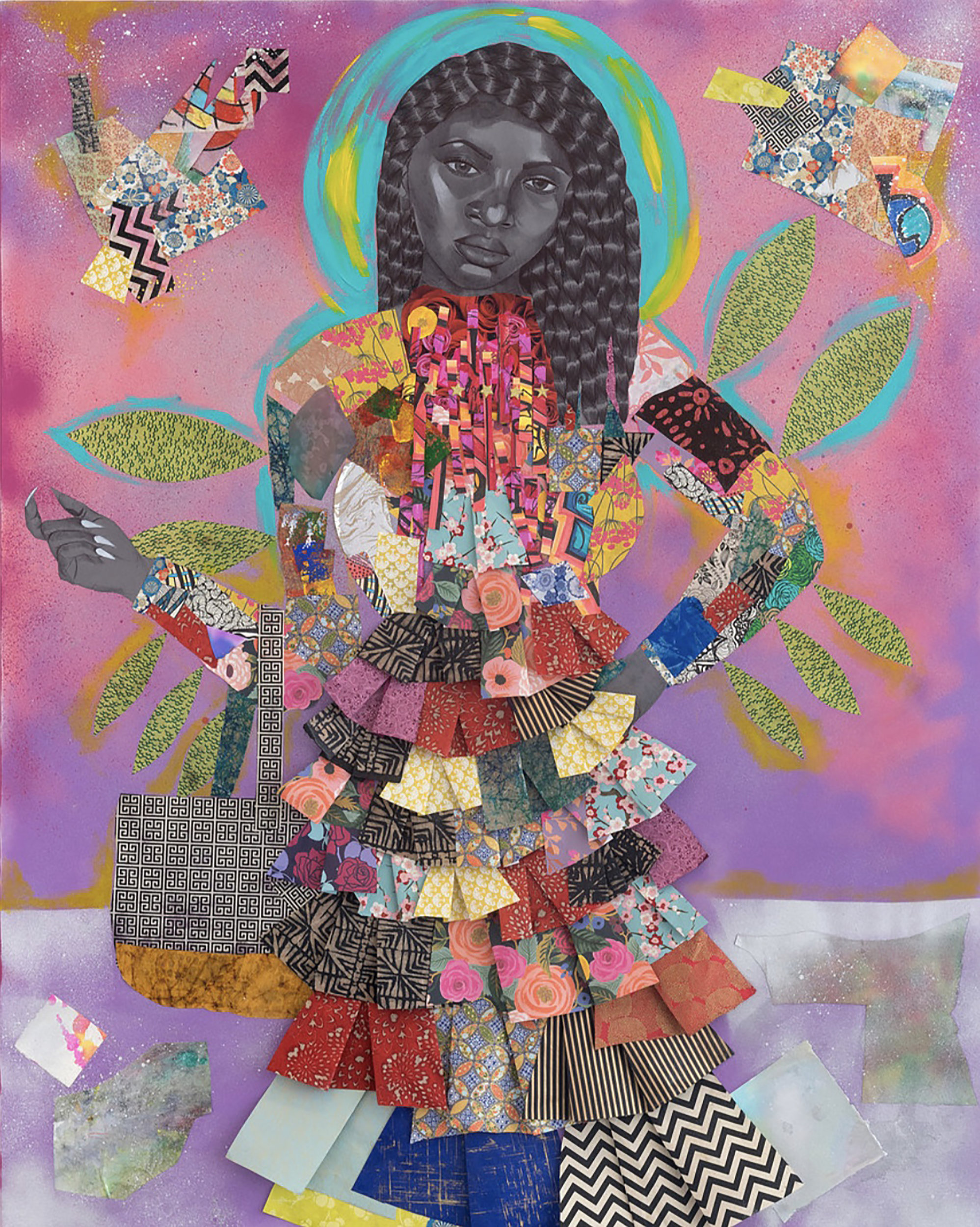 """""""Archetype of a 5 Star,"""" 2018, 60 x 48 in. Acrylic, spray paint, glitter, ink and cut paper collage on canvas. Courtesy of Kravets/Wehby Gallery and the artist."""