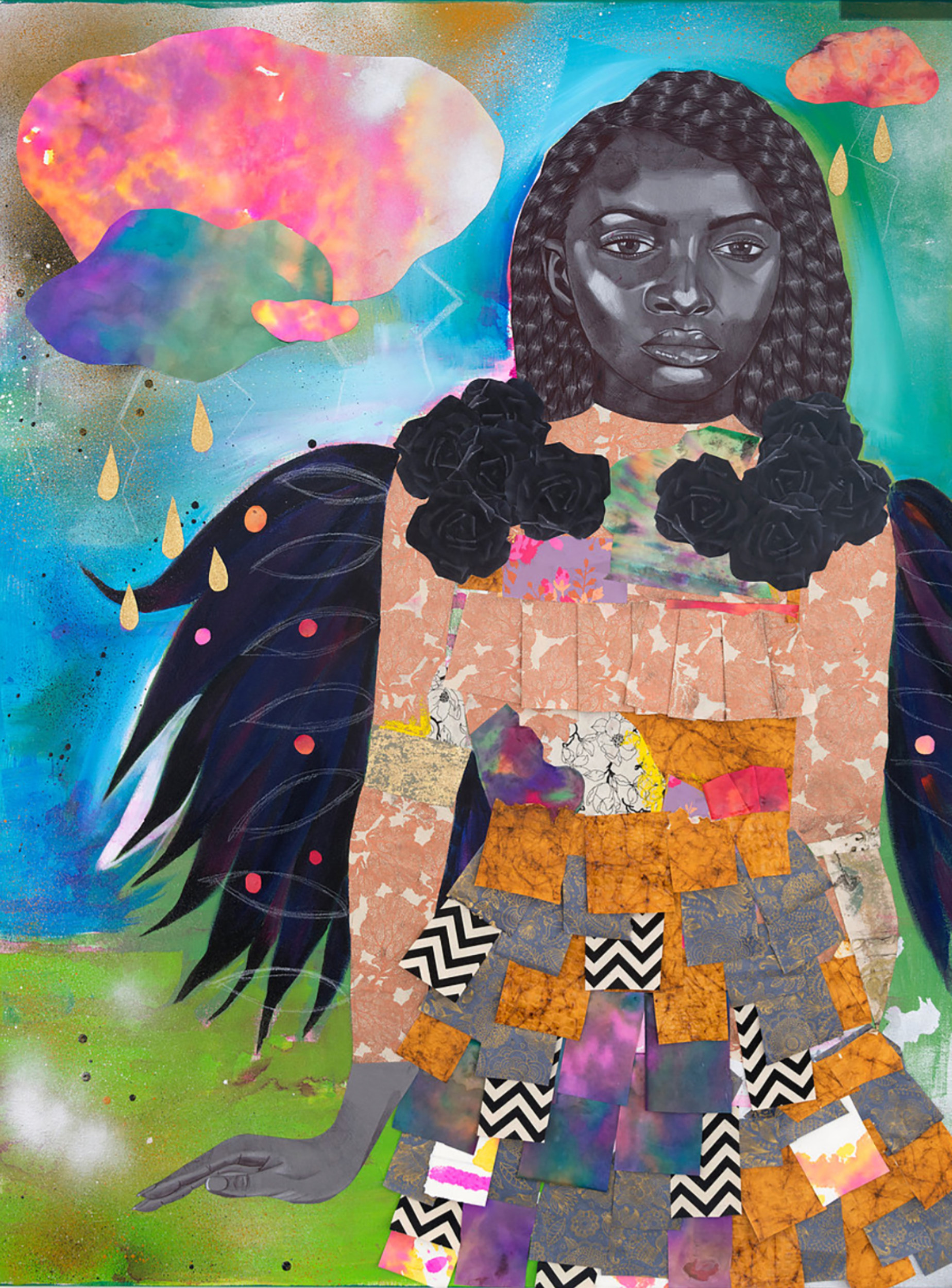 """""""The Witch of Joy Road,"""" 2017, 48 x 36 in.Acrylic, spray paint, ink an cut paper collage on canvas.Courtesy of Kravets/Wehby Gallery and the artist."""