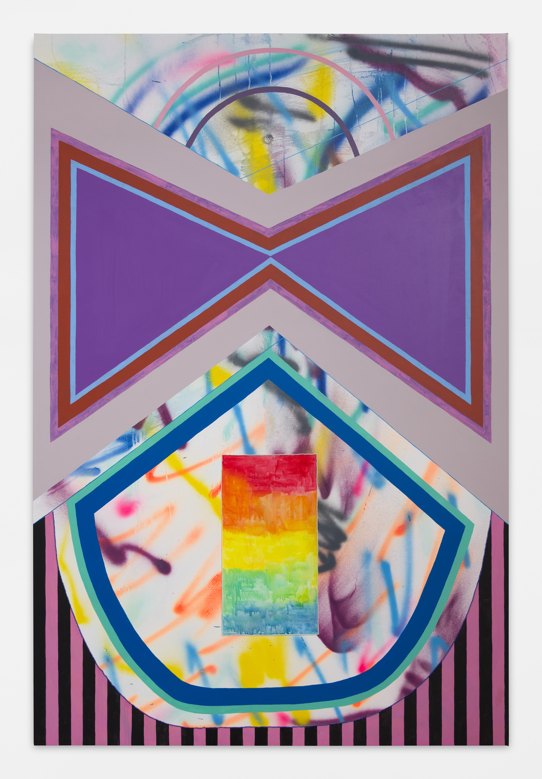 Sarah Cain   Black Widow , 2018 Acrylic, beads, gouache and prism on canvas 90 x 60 in 228.6 x 152.4 cm. Courtesy of the artist/Timothy Taylor Gallery.