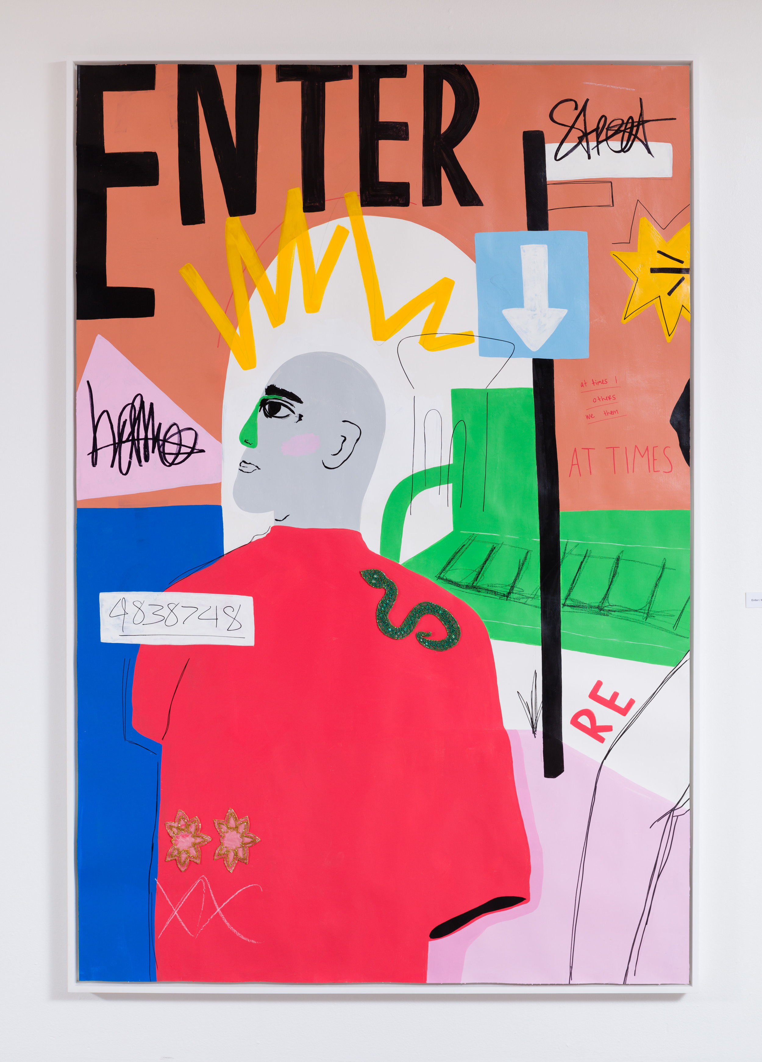 Enter / Homes / Street, acrylic, sharpie, pencil, oil pastel and beaded ap- pliques on paper, 72 x 48 inches, unframed, 2017.