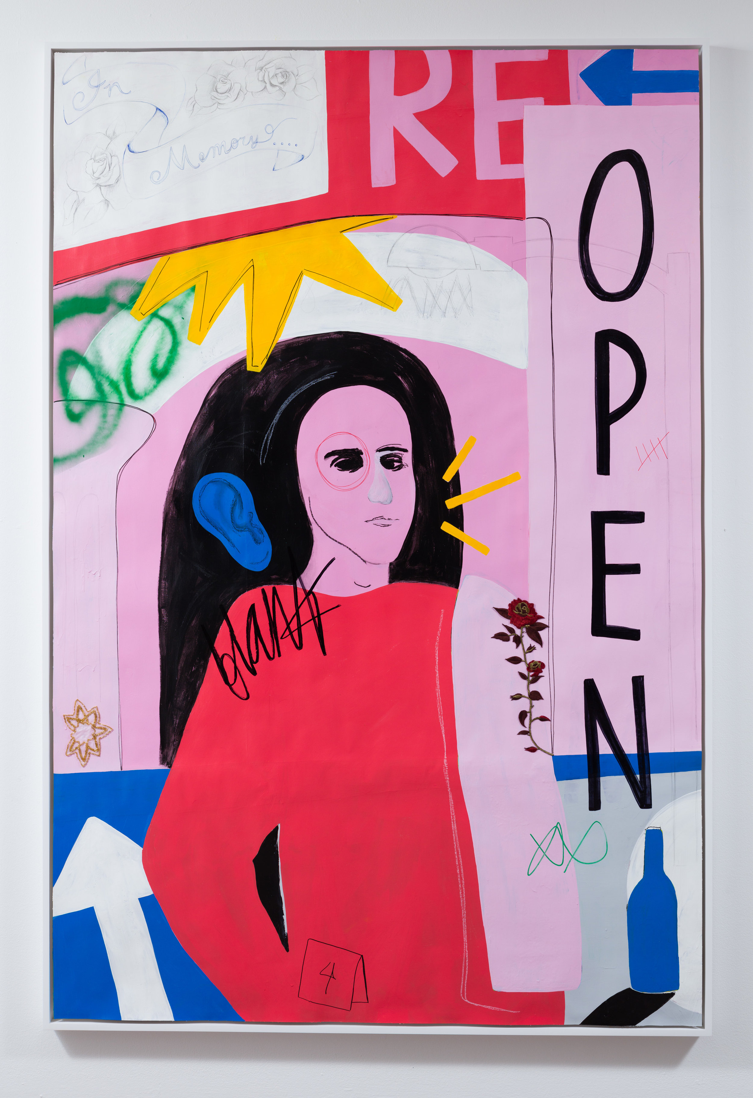 Open,  acrylic, sharpie, spray paint, beaded and embroidered appliques on paper, 72 x 48 inches,  unframed, 2017.