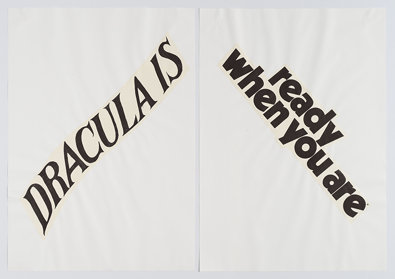 Lorraine O'Grady,  Cutting Out CONYT 04 , 1977/2017, Letterpress printing on Japanese paper, cut-out, collage on laid paper, Diptych, each: 41.75h x 30w in, Overall: 41.75h x 60w in. Courtesy Alexander Gray Associates, New York © Lorraine O'Grady/Artists Rights Society (ARS), New York