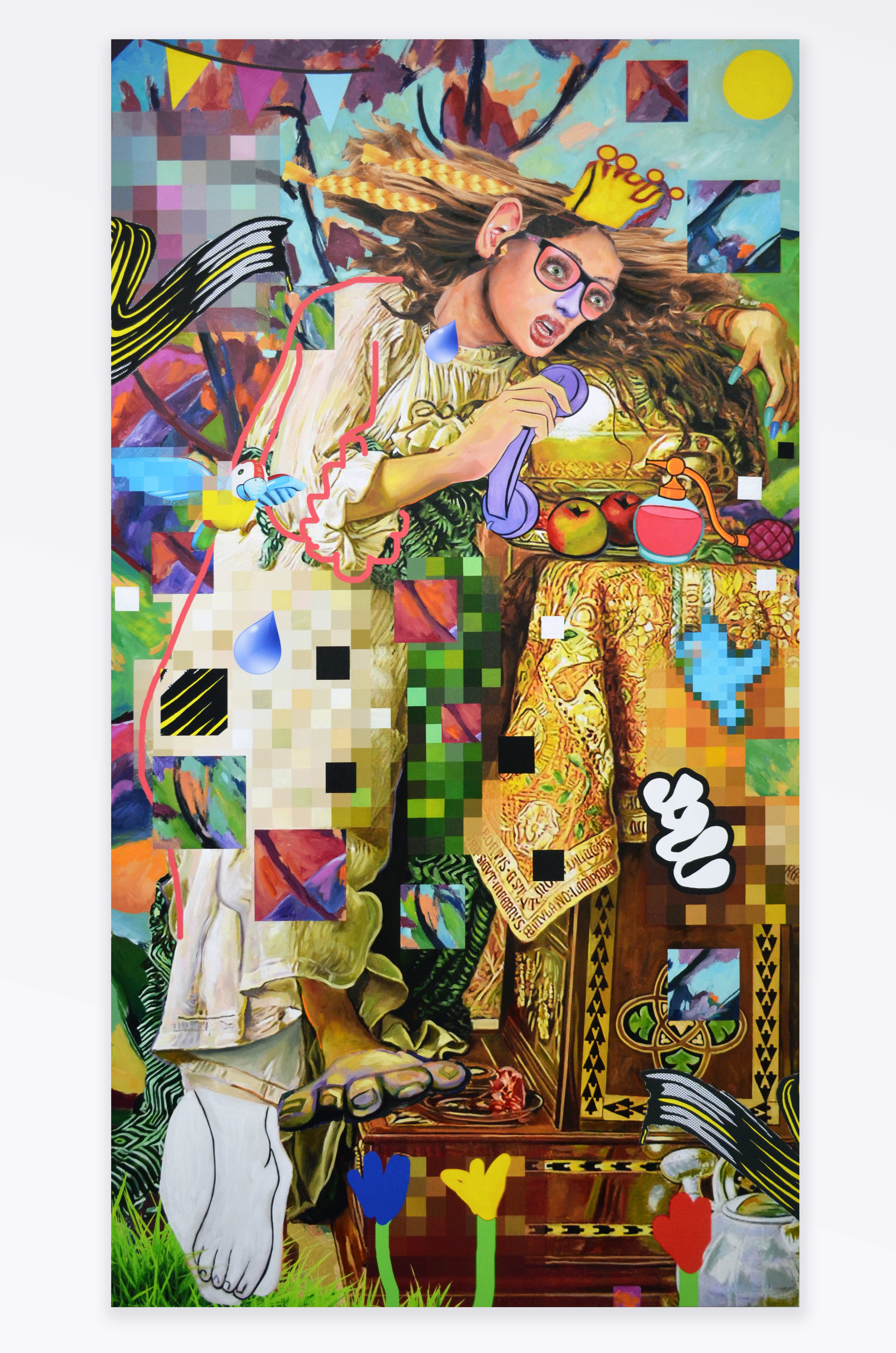 "Allison Zuckerman Jilted Lover, 2018 Acrylic and archival CMYK ink on canvas 96 x 52"" Courtesy Kravets Wehby Gallery"