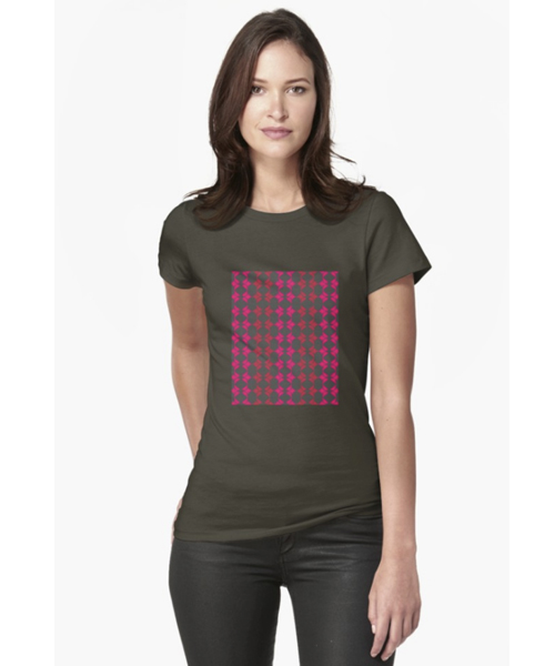 BAYA Red Pink Fitted T-Shirt