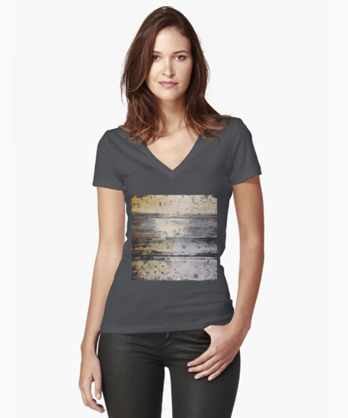 Wood Fitted V-Neck T-Shirt