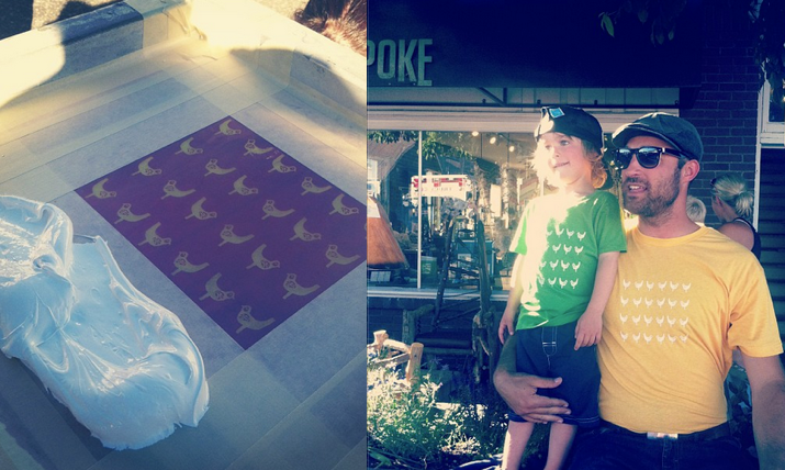 Screenprinted shirts designed by local artists, printed curbside.